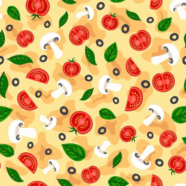 フラットおいしいピザシームレスパターンイタリアのファーストフードの背景プリントテクスチャ Premiumベクター