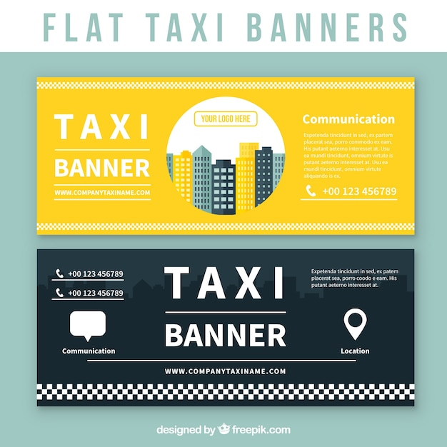 Flat taxi banners