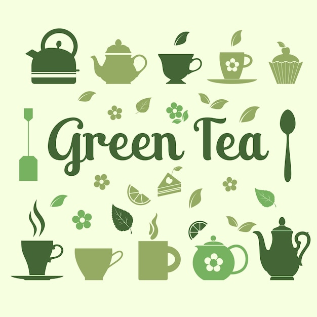 Flat tea icons Free Vector