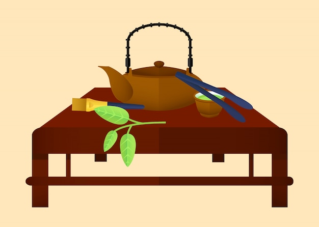 Flat tea time chinese concept Free Vector