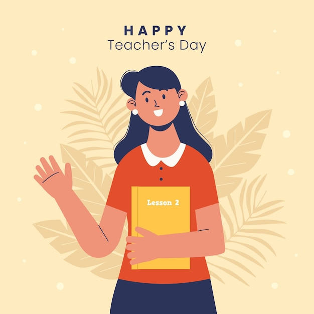 Flat teachers' day illustration Free Vector