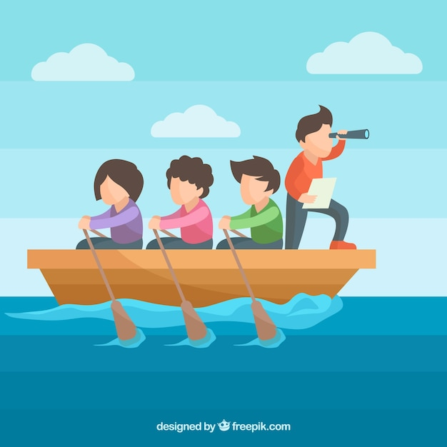 Flat teamwork concept with people rowing