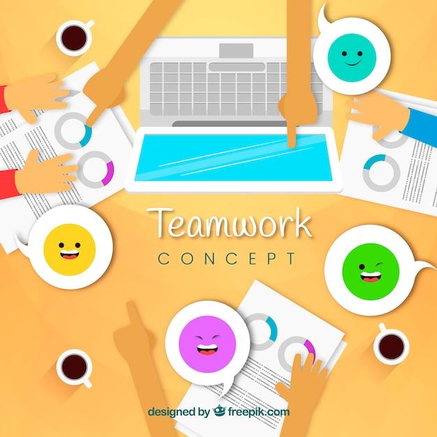 Flat teamwork concept