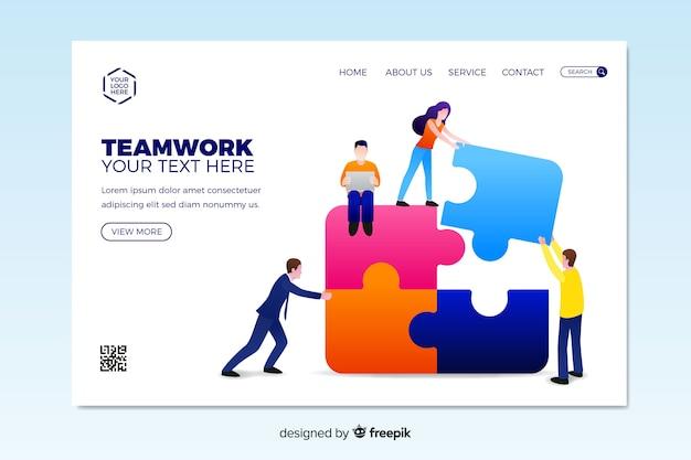Flat teamwork landing page template Free Vector