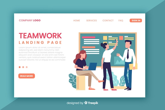 Flat teamwork landing page template Free Vector