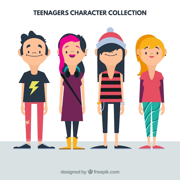 Character Design Book Free Download : Flat teenager collection vector free download