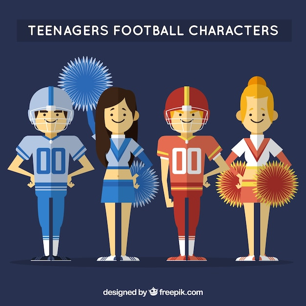 Flat Teenagers Football characters