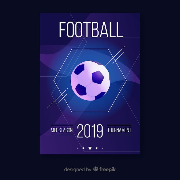 Flat template of football poster Free Vector