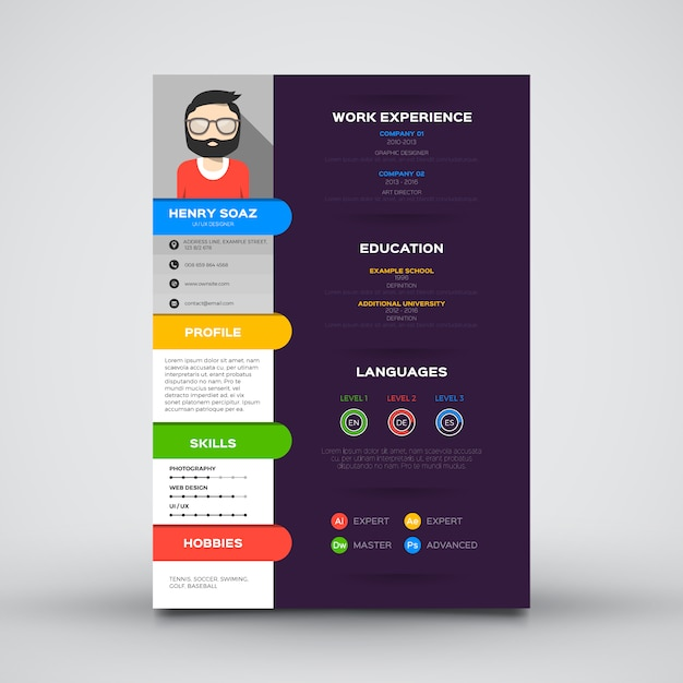 flat template for resume vector
