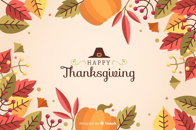 Flat thanksgiving background on pink background Free Vector