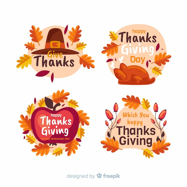Flat thanksgiving label / badge collection Free Vector