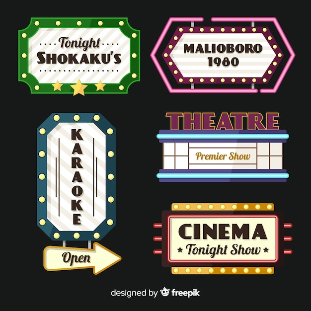 Flat theatre vintage sign collection Free Vector