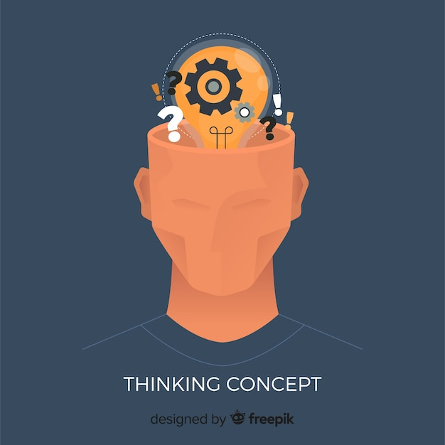 Flat thinking concept Free Vector