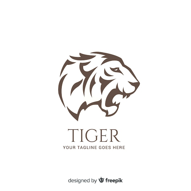 Flat tiger background Free Vector