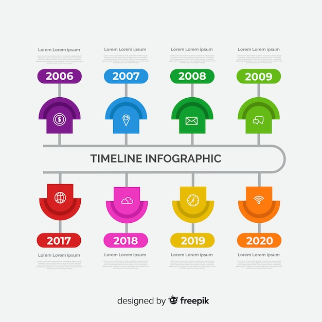 Flat timeline business infographic Free Vector