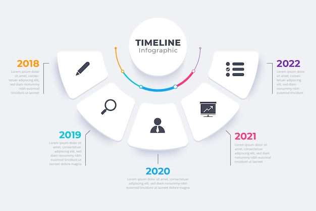 Flat timeline infographic template Free Vector