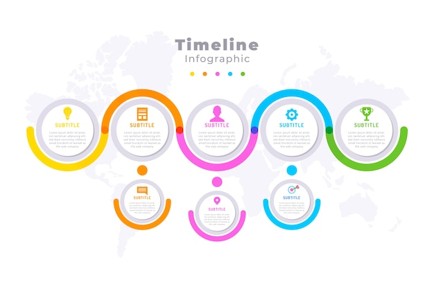 Flat timeline infographic Free Vector
