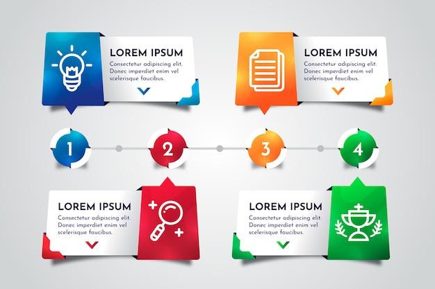 フラットタイムラインインフォグラフィック Premiumベクター