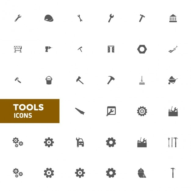 Flat tool icon set Free Vector