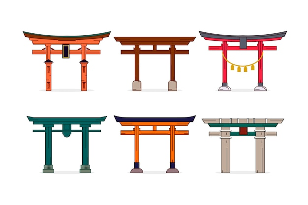 Free Vector | Flat torii gate collection