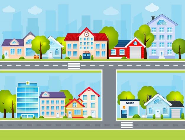 Flat town illustration Free Vector