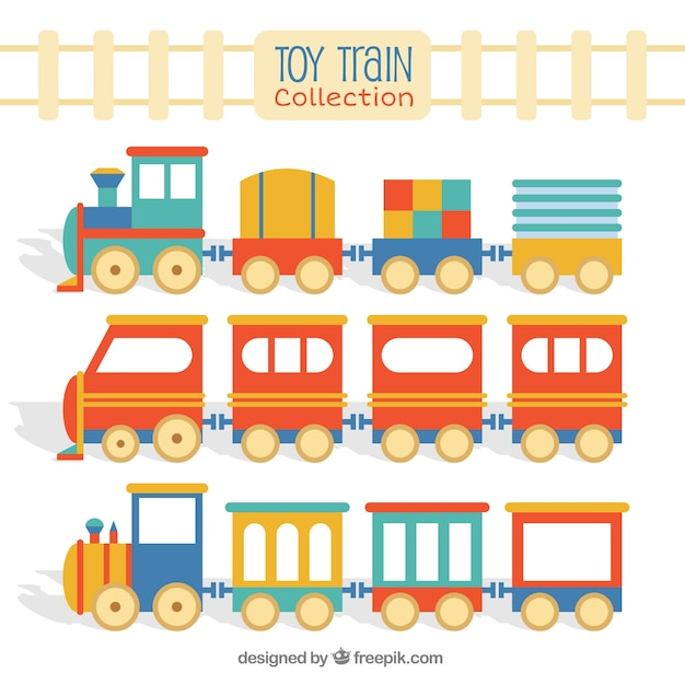 Flat toy train pack Free Vector