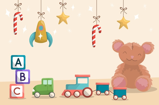 Flat toys christmas background Free Vector