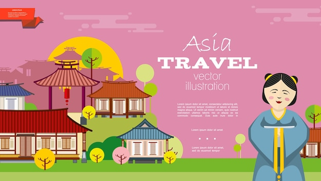 Flat travel to asia background Free Vector