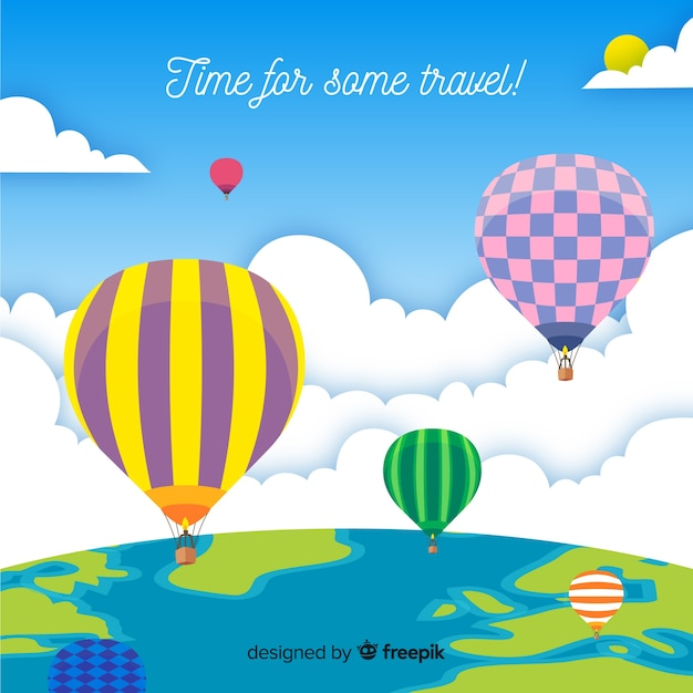 Flat travel background Free Vector