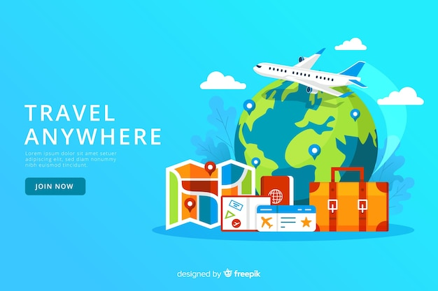 Flat travel banner template Free Vector