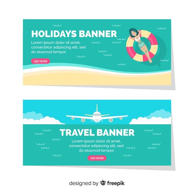 Flat travel banner Free Vector