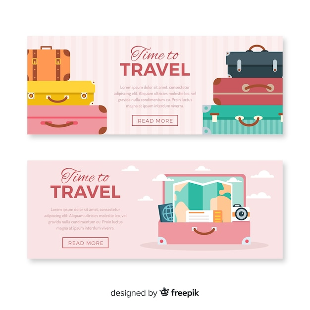 Flat travel banner Free Vector