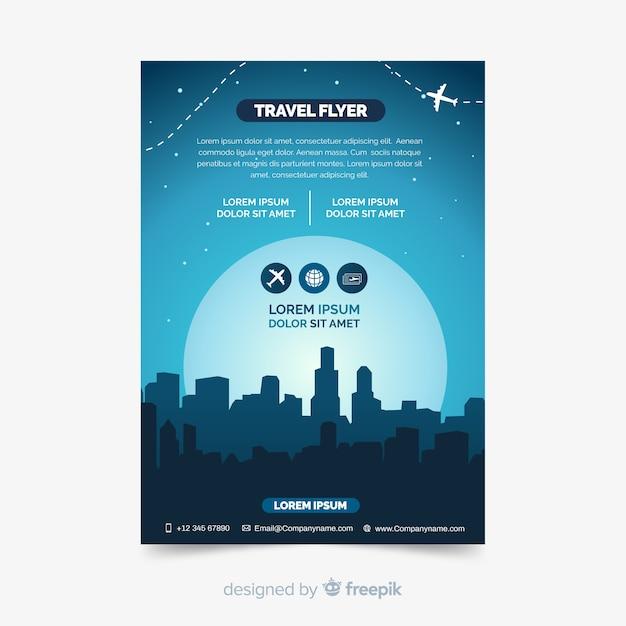 Flat travel brochure template Vector | Free Download