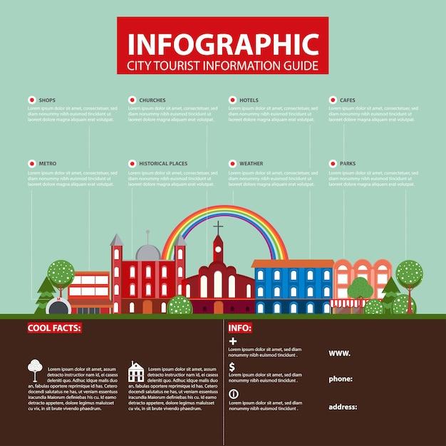 Концепция инфографики города плоский путешествия Бесплатные векторы