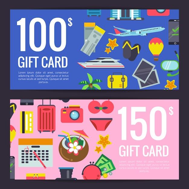 Flat travel elements discount or gift card voucher templates illustration Premium Vector