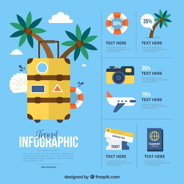 Flat travel elements for infography Free Vector