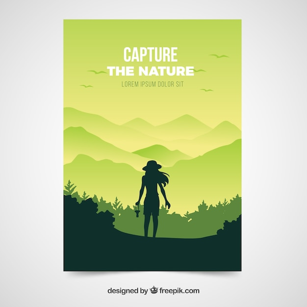 Flat travel flyer template with adveture style Free Vector