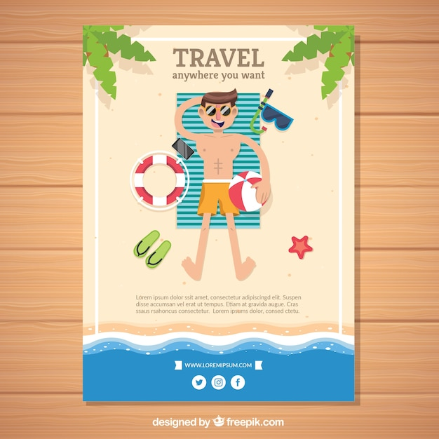Flat Travel Flyer Template With Summer Style Vector Free Download