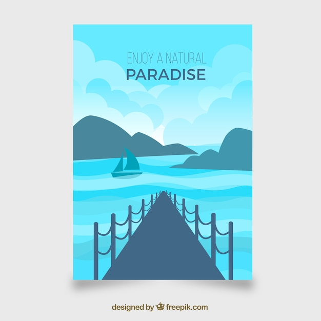 Flat travel flyer template with summer\ style