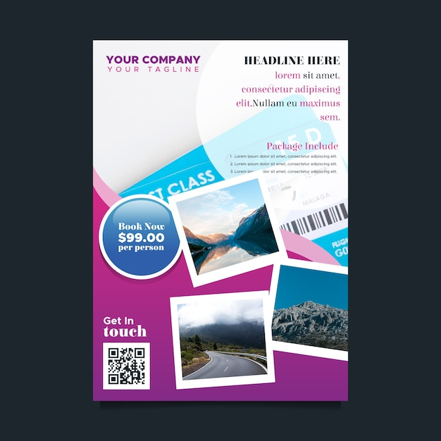 Flat Travel Flyer Template Vector Free Download