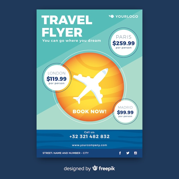 Flat travel flyer template Free Vector