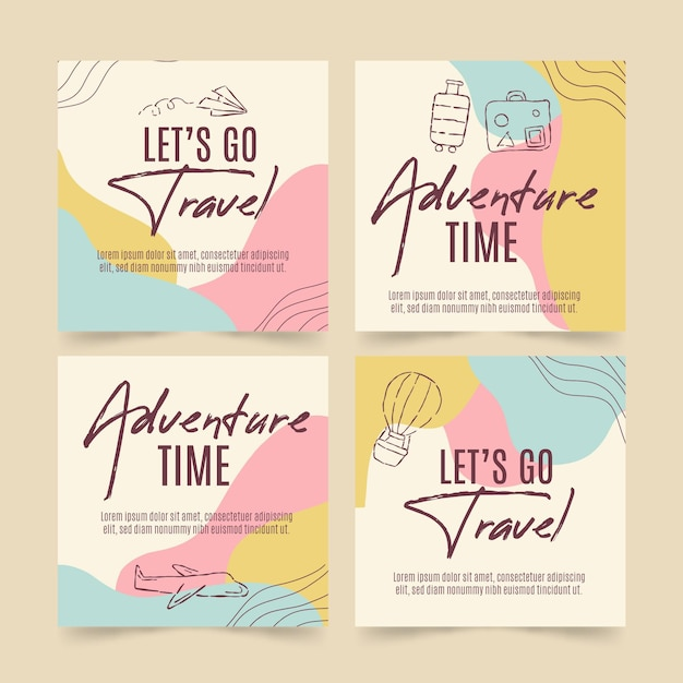 Flat travel instagram post collection Free Vector
