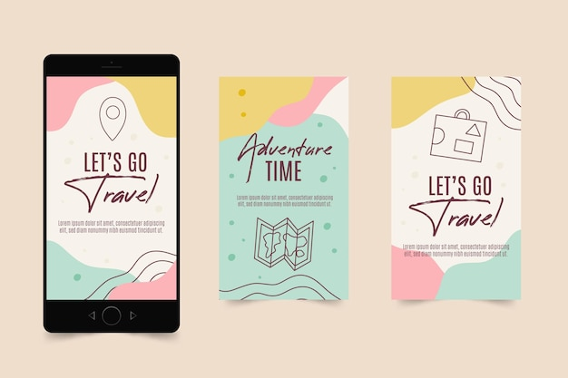 Flat travel instagram story collection Free Vector