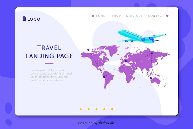 Flat travel landing page template Free Vector