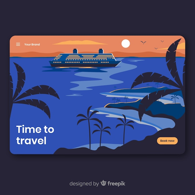 Flat travel landing page templatee Free Vector