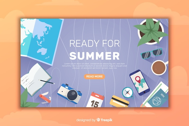 Flat travel landing page Free Vector
