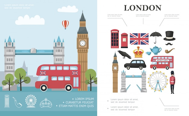 Flat travel to london composition with bus big ben tower bridge british royal guard and great britain national elements Free Vector
