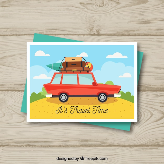 Flat travel postcard template with car Free Vector