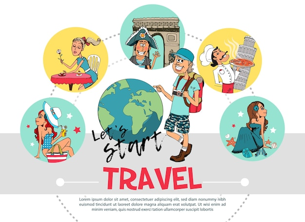 Flat travel round concept Free Vector