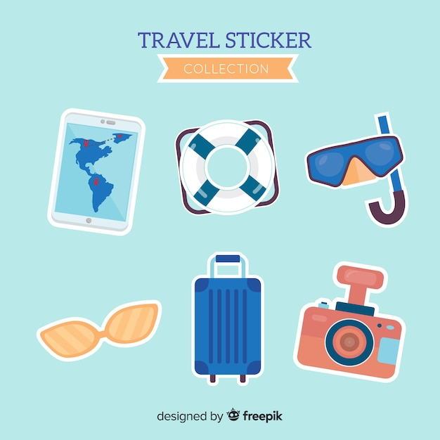 Flat travel sticker collection Free Vector